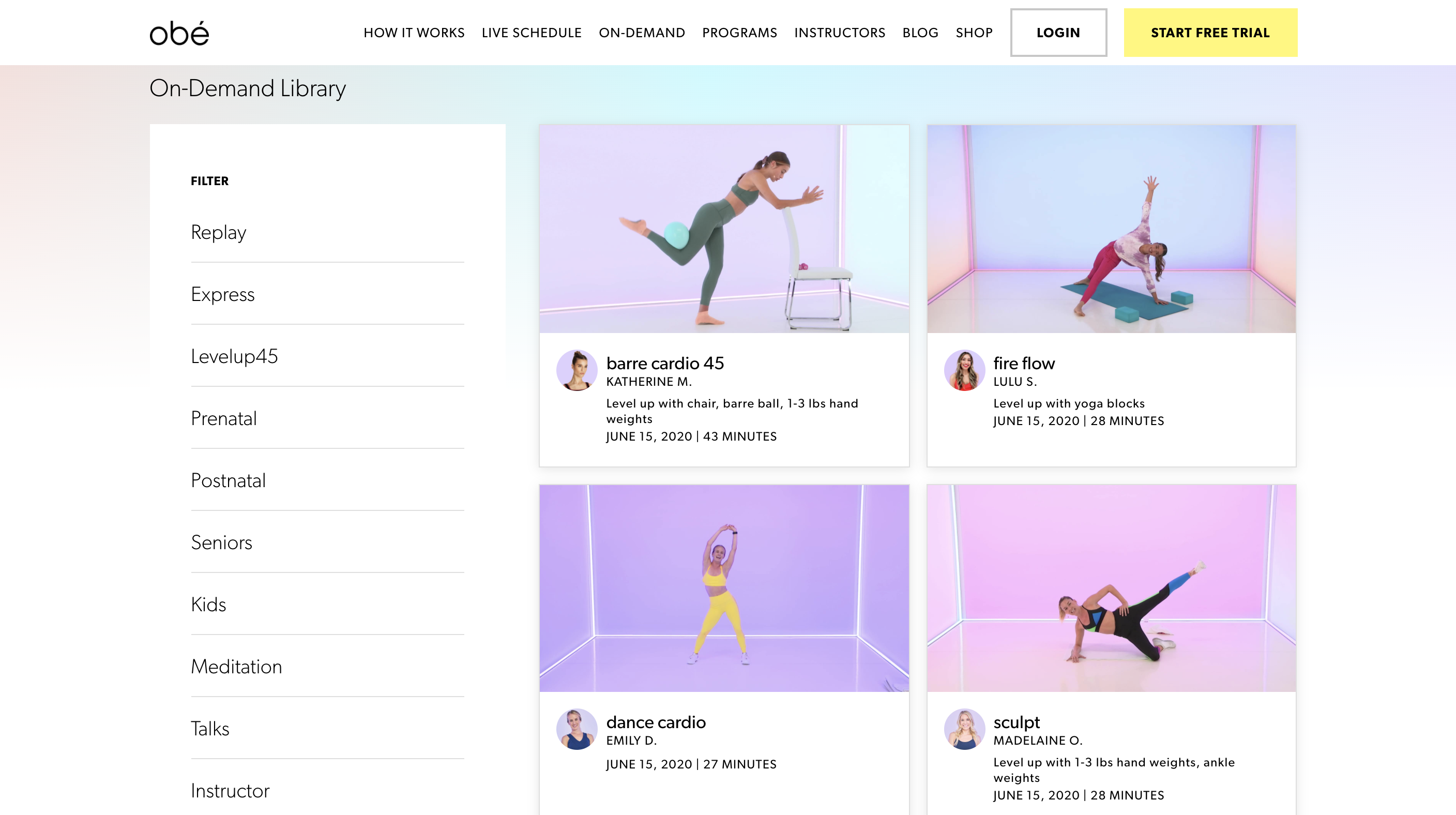 Screenshot of Obé Fitness' on-demand library with different on-demand express classes