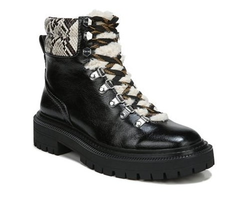 black leather hiking boots with shearling fur