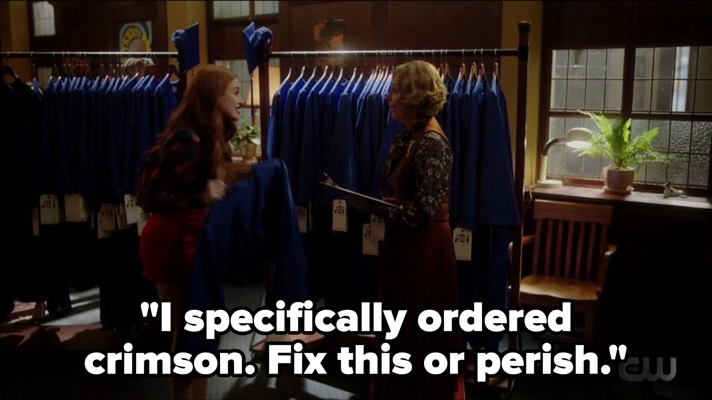Cheryl saying she ordered a crimson graduation robe