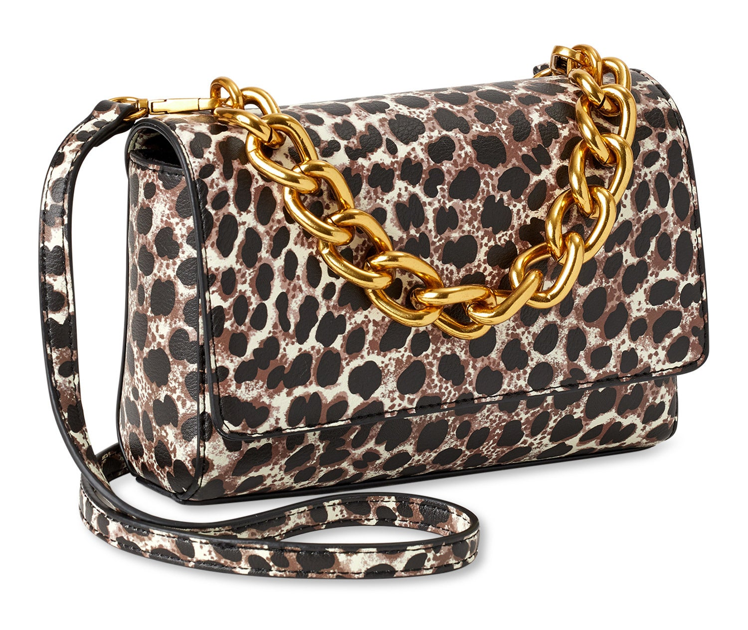 leopard print crossbody bag with a gold chain detail
