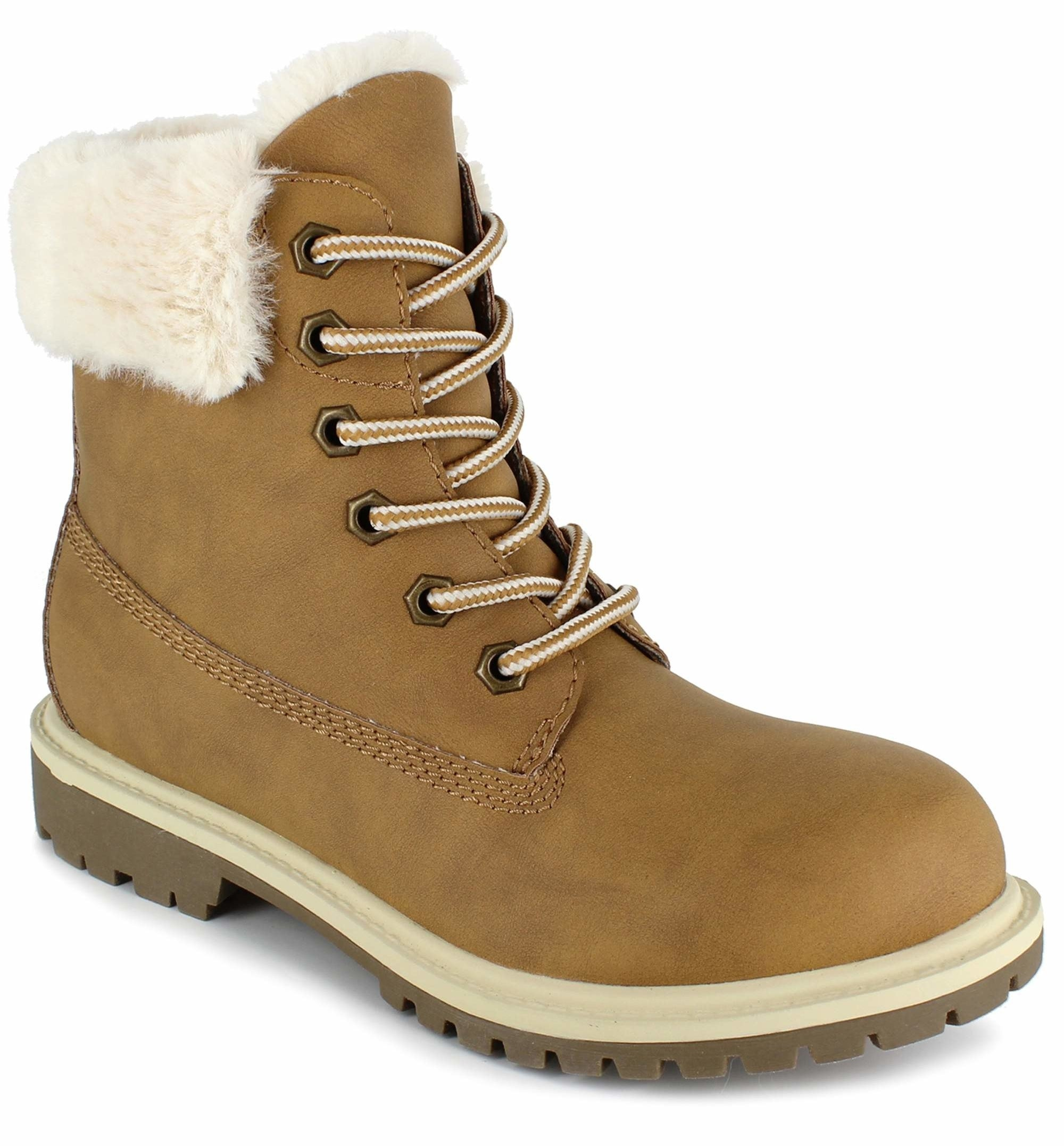 one wheat-colored faux fur trimmed lace-up boots