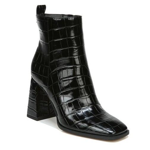 black faux animal print booties
