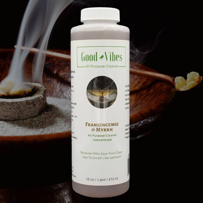 A bottle of Frankincense & Myrrh All Purpose Cleaner Concentrate