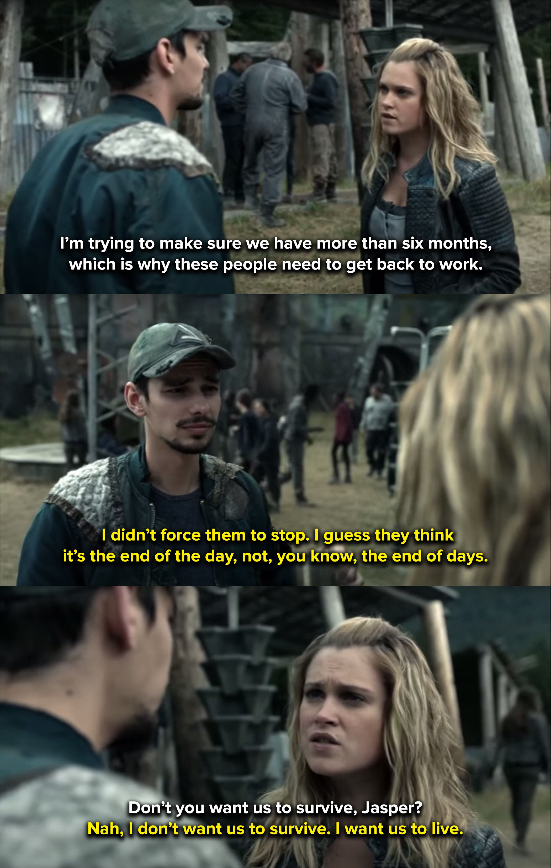 Jasper tells Clarke he'd rather everyone live in the moment than fight to survive