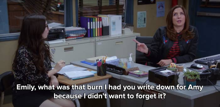 Gina had Emily write down a burn for Amy so she wouldn't forget it
