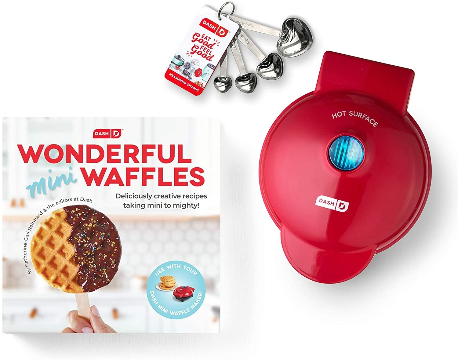 small waffle maker with a waffle cookbook, measuring spoons