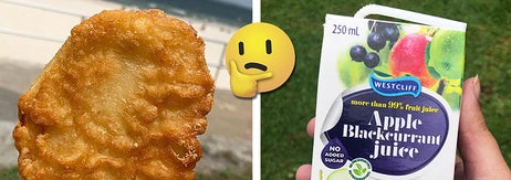 Left: A hand holding a deep friend and battered potato; Right: A hand holding a juice box