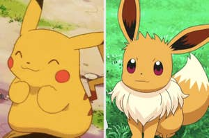 Pikachu alongside Eevee