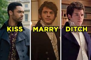 "On the left, Simon from ""Bridgerton"" labeled ""kiss,"" in the middle, Anthony Bridgerton labeled ""marry,"" and on the right, Anthony Bridgerton labeled ""ditch"""