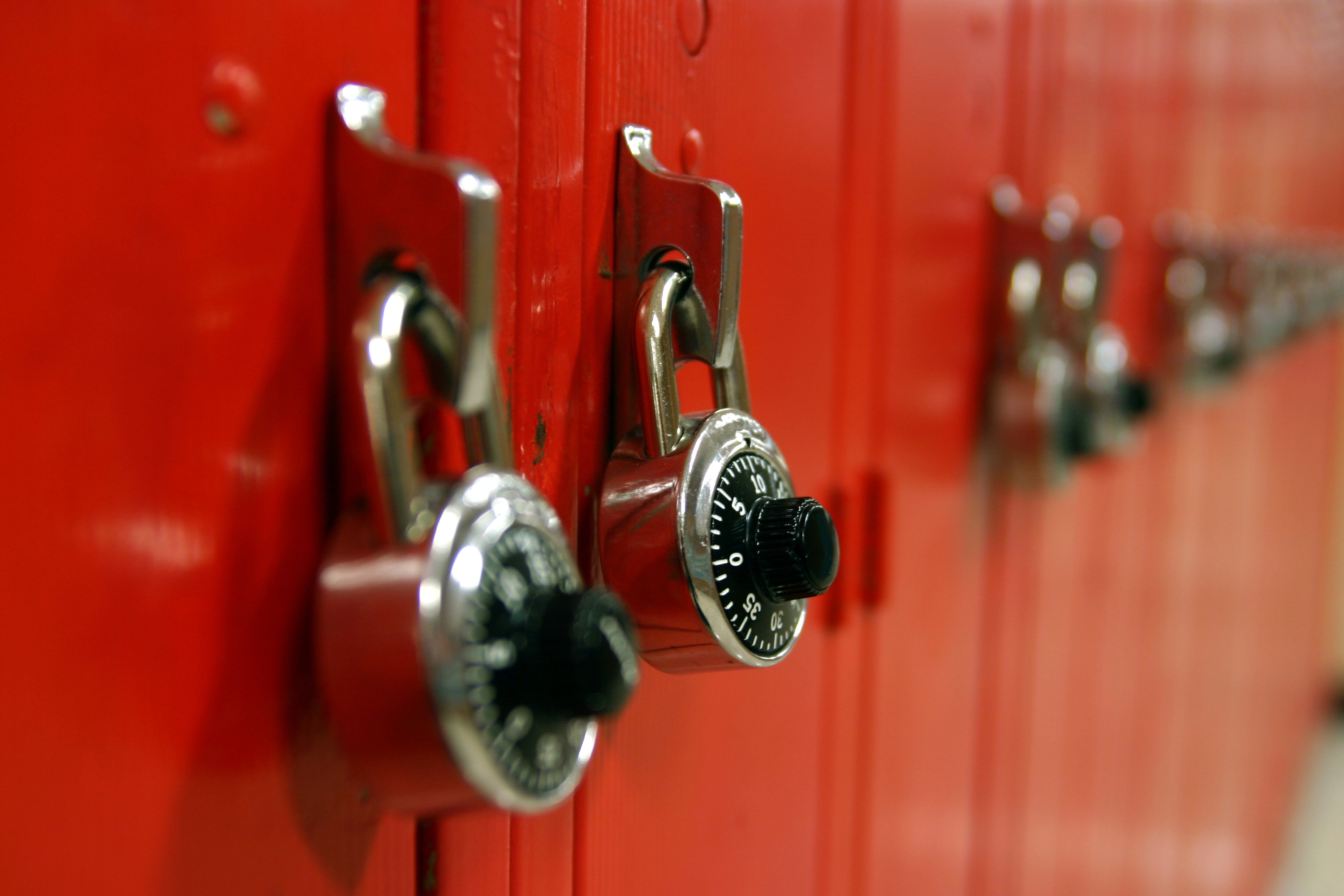 A row of lockers with locks on them