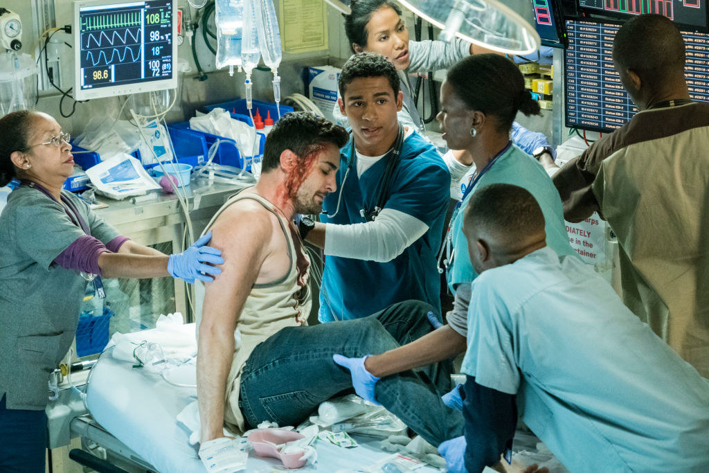 """A scene from """"Code Black"""" where Dr. Dixon is treating a patient in the ER"""