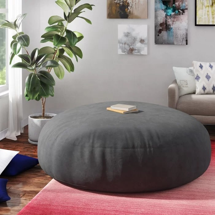 The bean bag with books on top