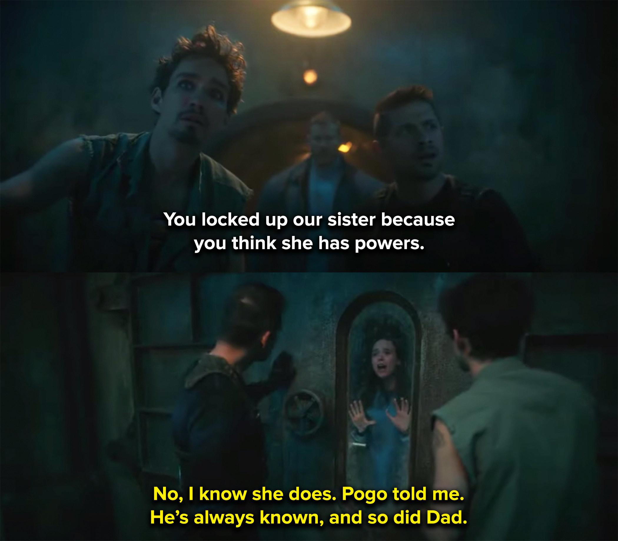 Luke locks up Vanya because he knows she has powers