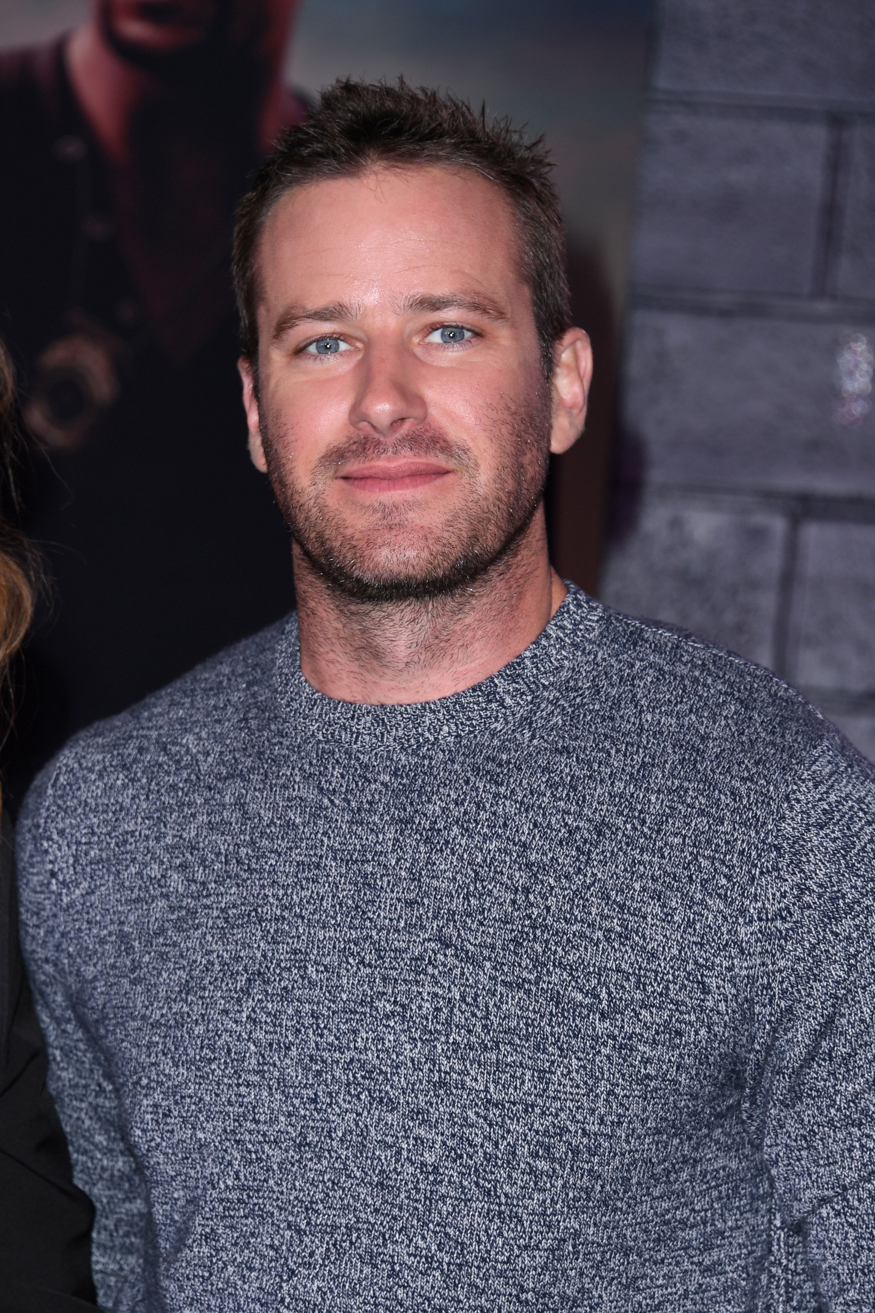 Armie Hammer wears a sweater at the premiere of Bad Boys For Life in Hollywood on January 14, 2020