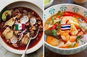 Pozole Rojo soup and Tom Yum soup