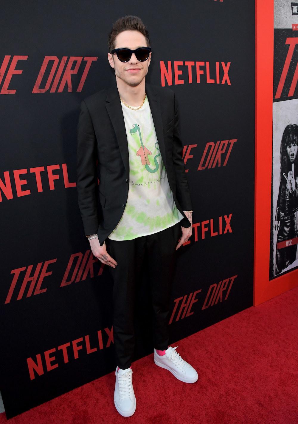"Pete Davidson attends the premiere of Netflix's 'The Dirt"""