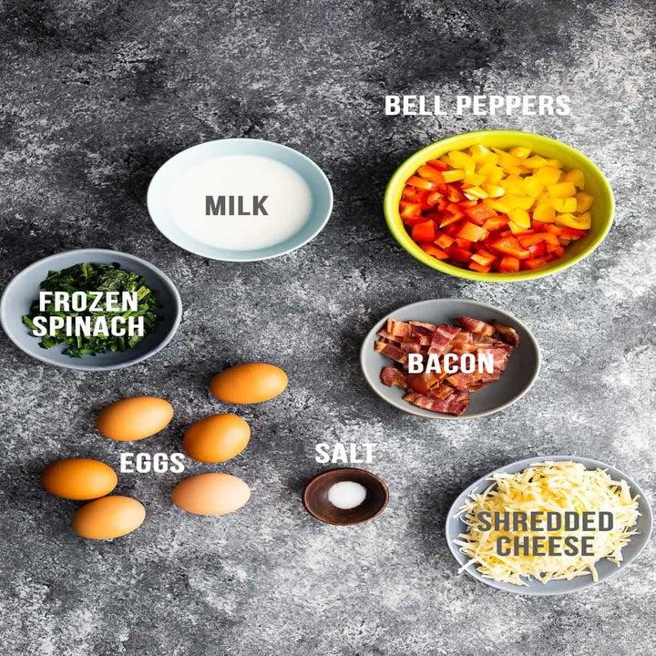 Ingredients for the breakfast casserole