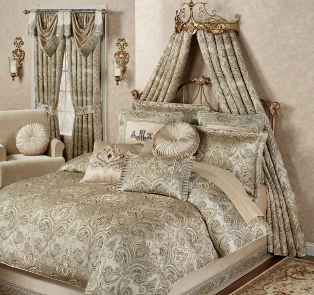 An elegant Regency style bedroom features a gold filigree bed crown with pale shimmery damask drapes cascading over a matching bed