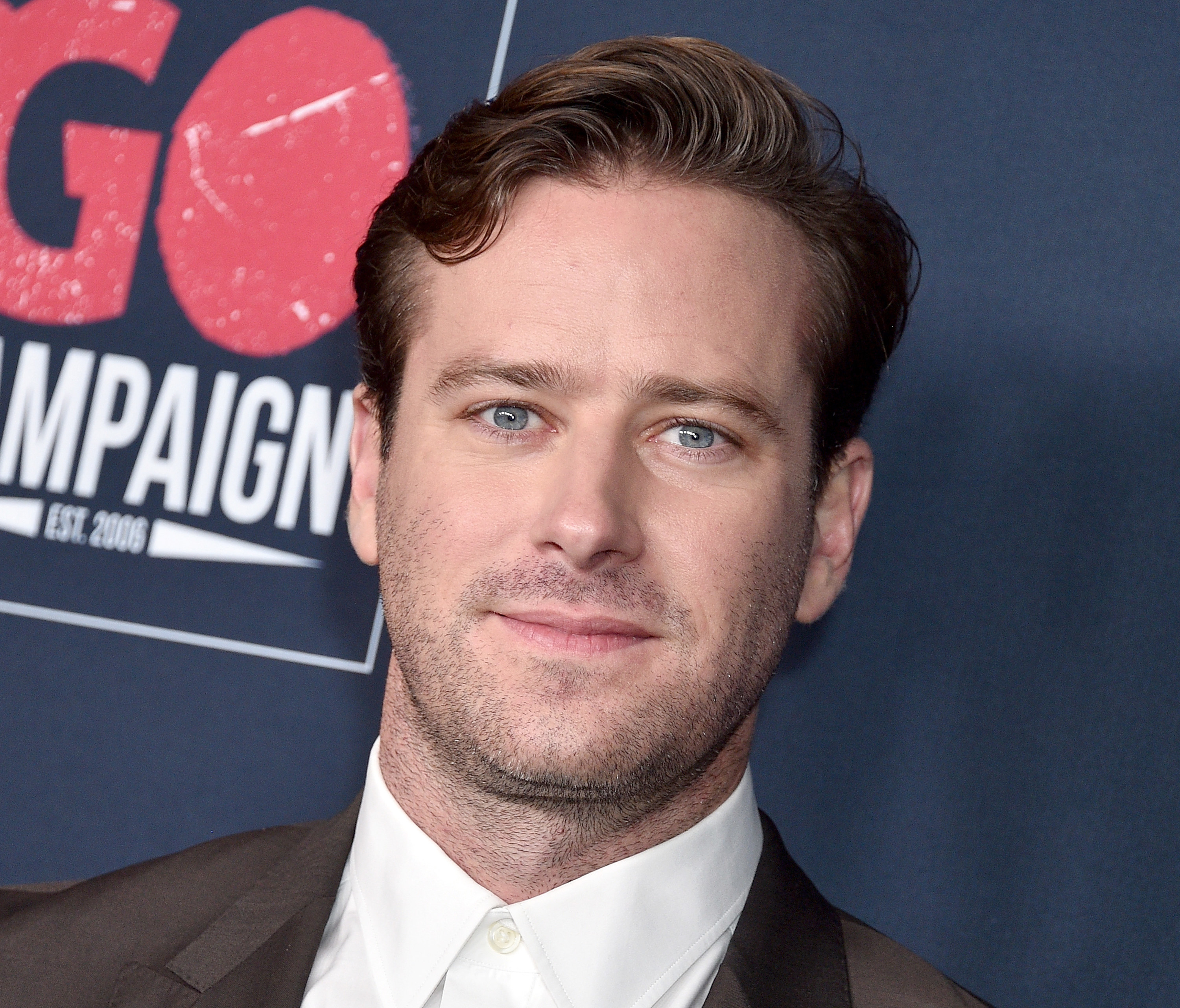 Armie Hammer poses for photographers at the Go Campaign's 13th Annual Go Gala in Hollywood on November 16, 2019