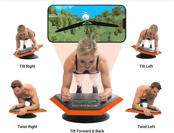 Models showing how you tilt and twist on the trainer following the game on a smartphone