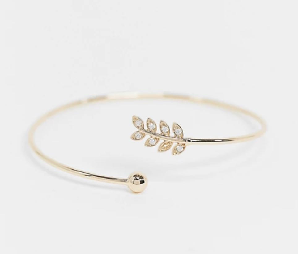 Asos cuff bracelet with leaf and ball detail
