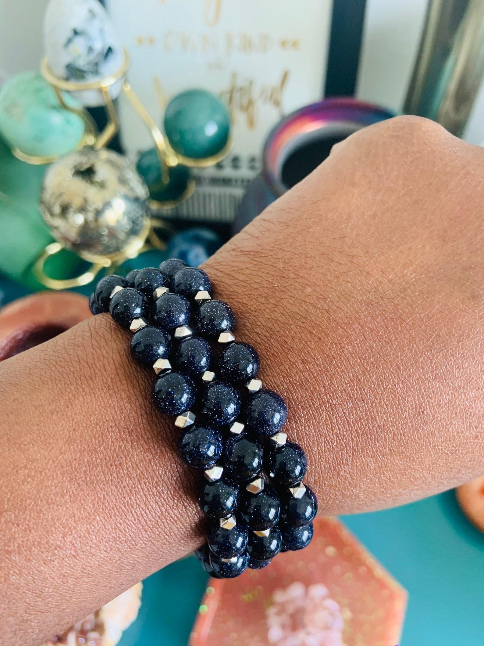 Model wearing Blue Goldstone bracelet