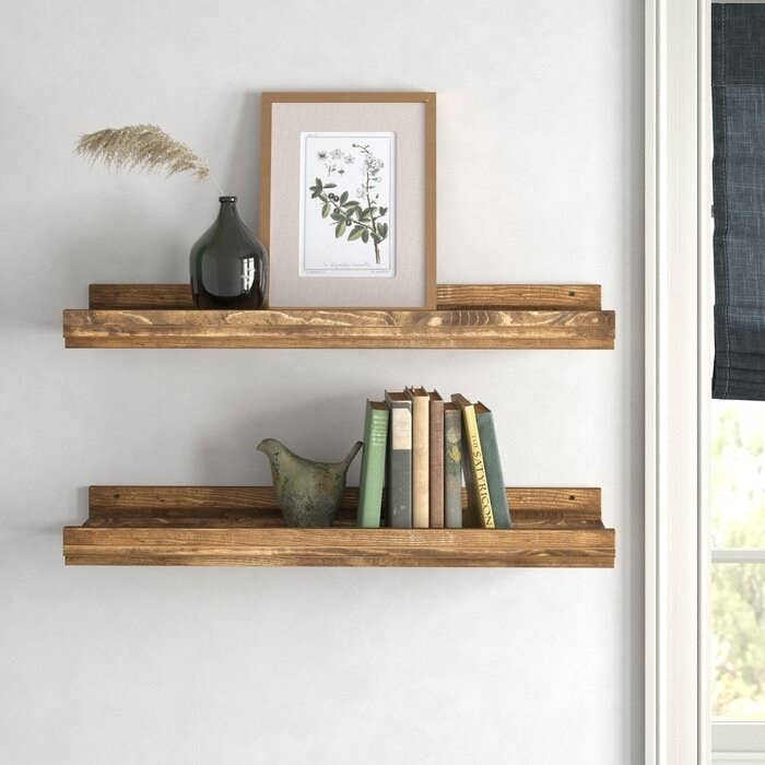 Walnut pine wood shelves