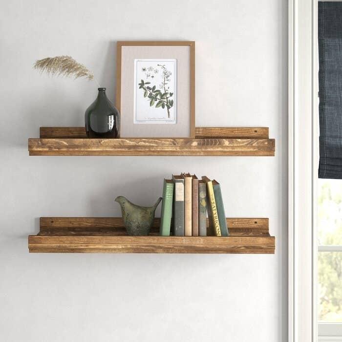 Walnut pine wood shelves