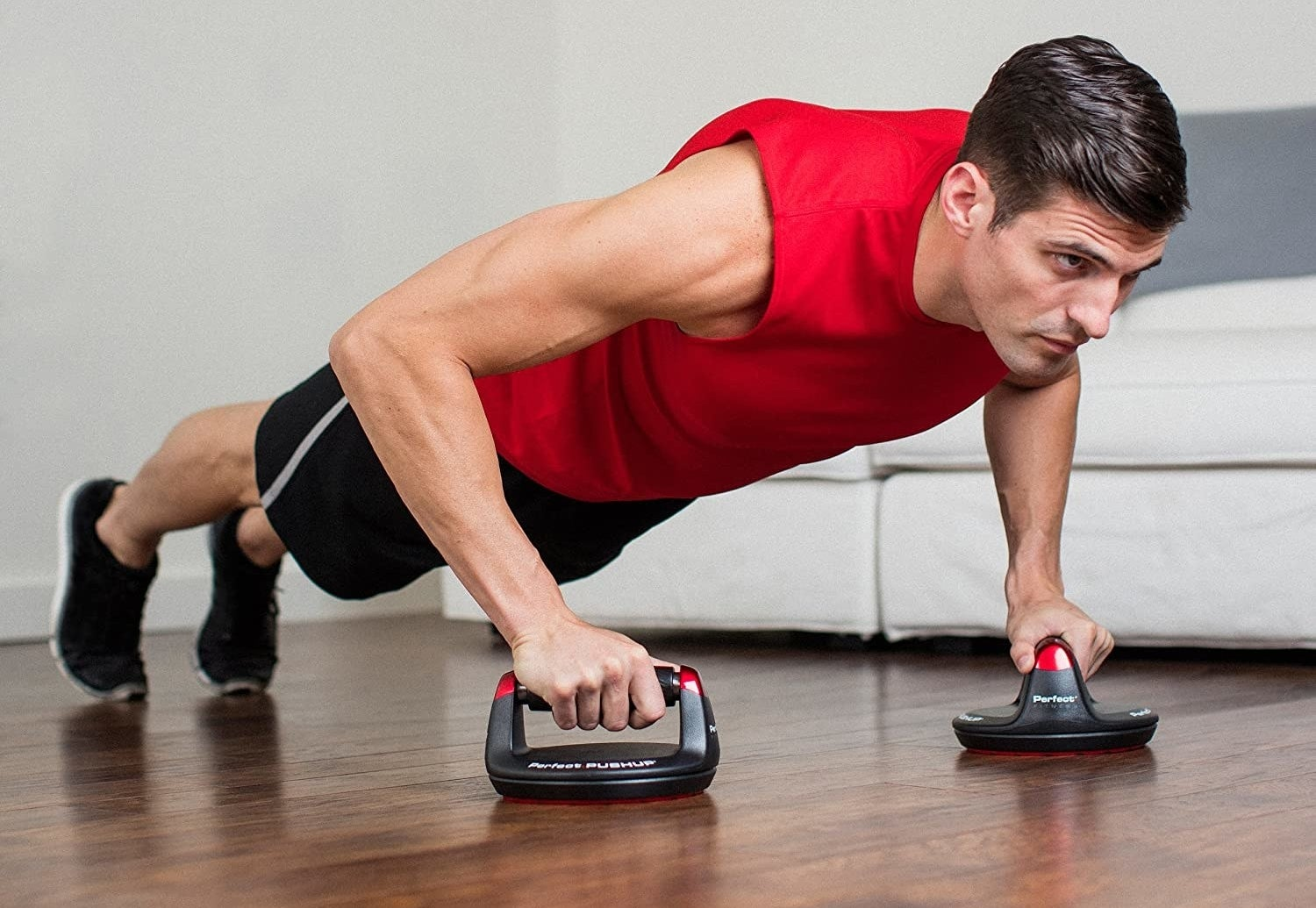 a model using the pushup stands