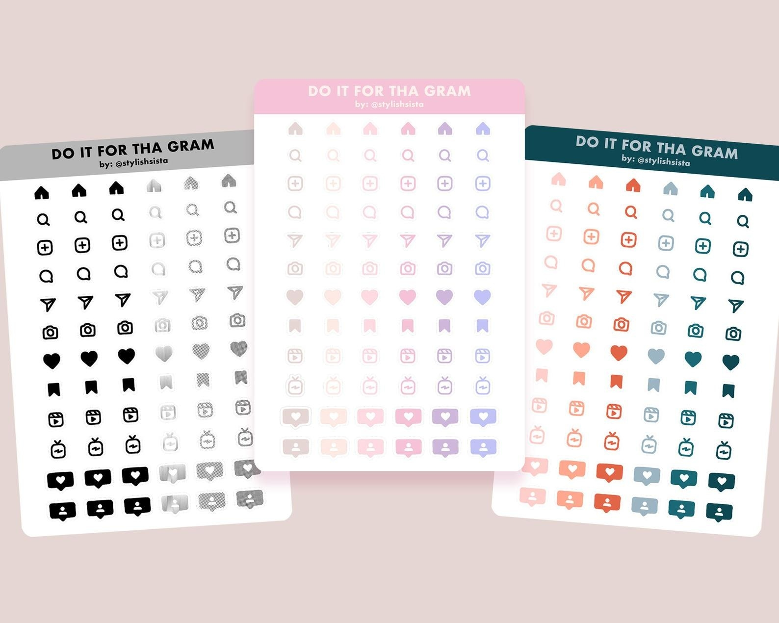 The planner stickers in three color options