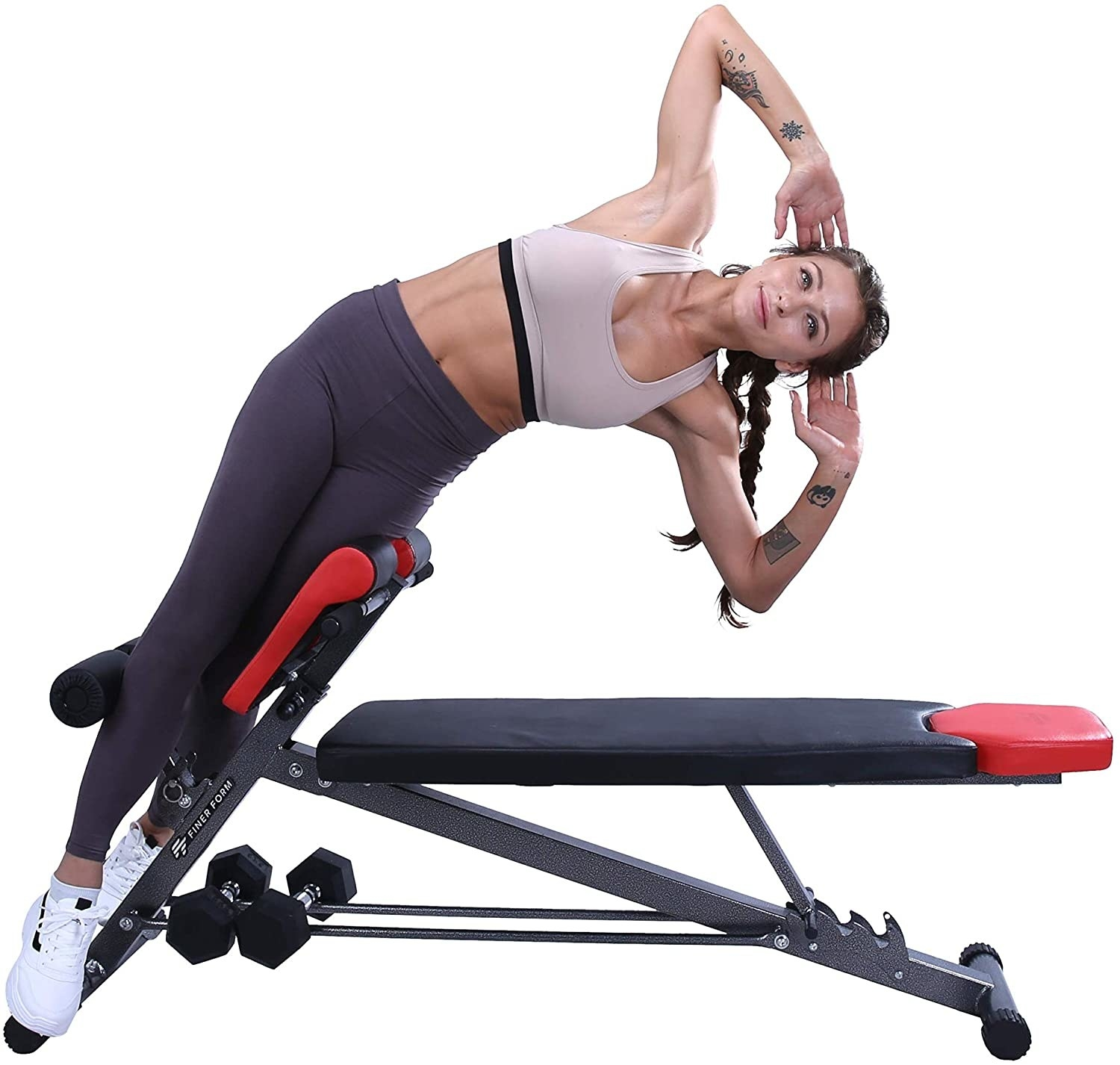 A model using the black and red bench