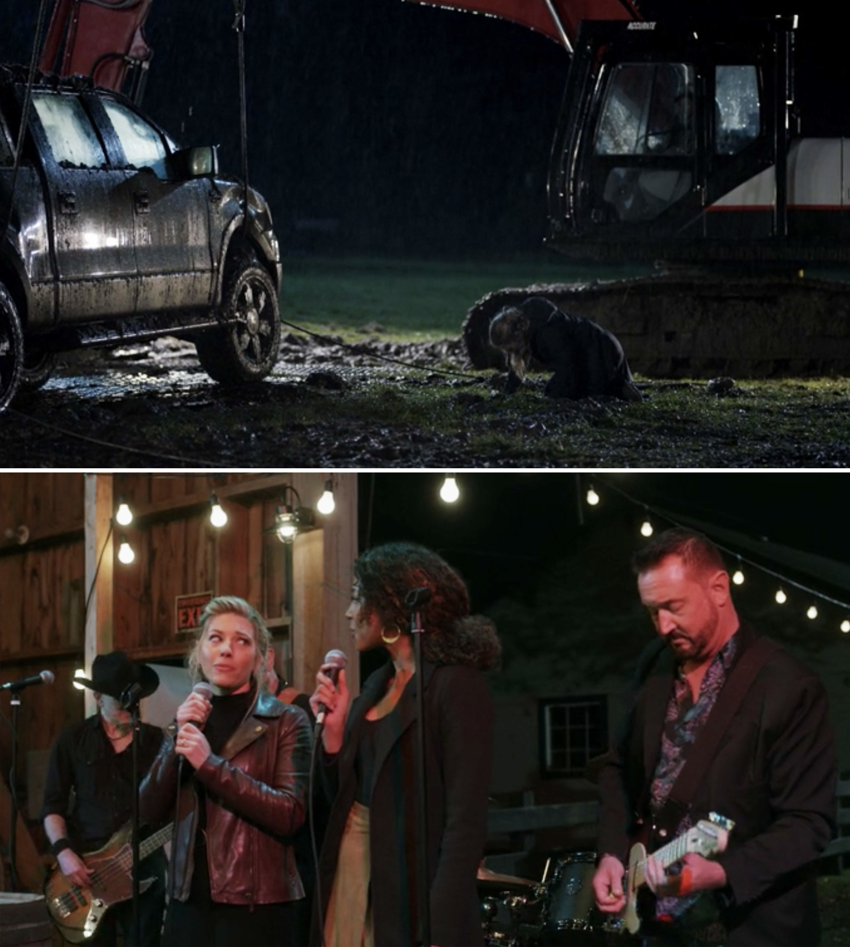 Jenny sobbing on the ground after finding Cody's truck, and Jenny and Cassie singing at Cody's funeral