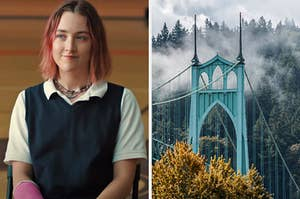"""On the left, Saoirse Ronan as Lady Bird in """"Lady Bird,"""" and on the right, a bridge in Portland surrounded by pine trees and fog"""