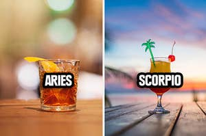 A variety of cocktails representing different zodiac signs
