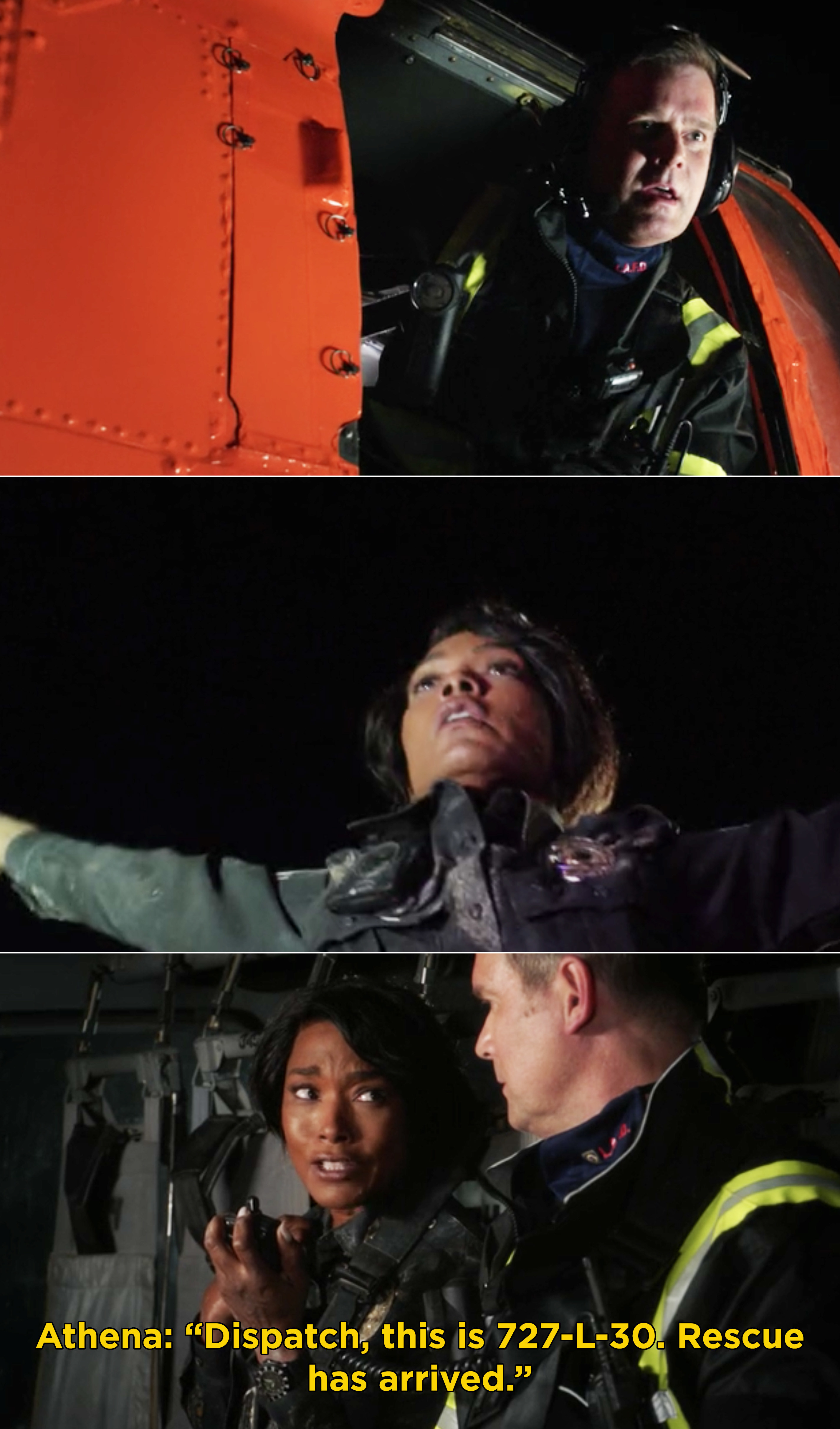 """Bobby finding Athena while riding a helicopter and Athena radioing in saying, """"Dispatch, this is 727-L-30. Rescue has arrived"""""""