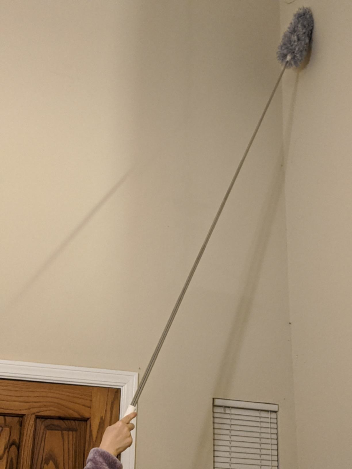 reviewer image of a customer dusting their ceiling with the microfiber duster with extension pole
