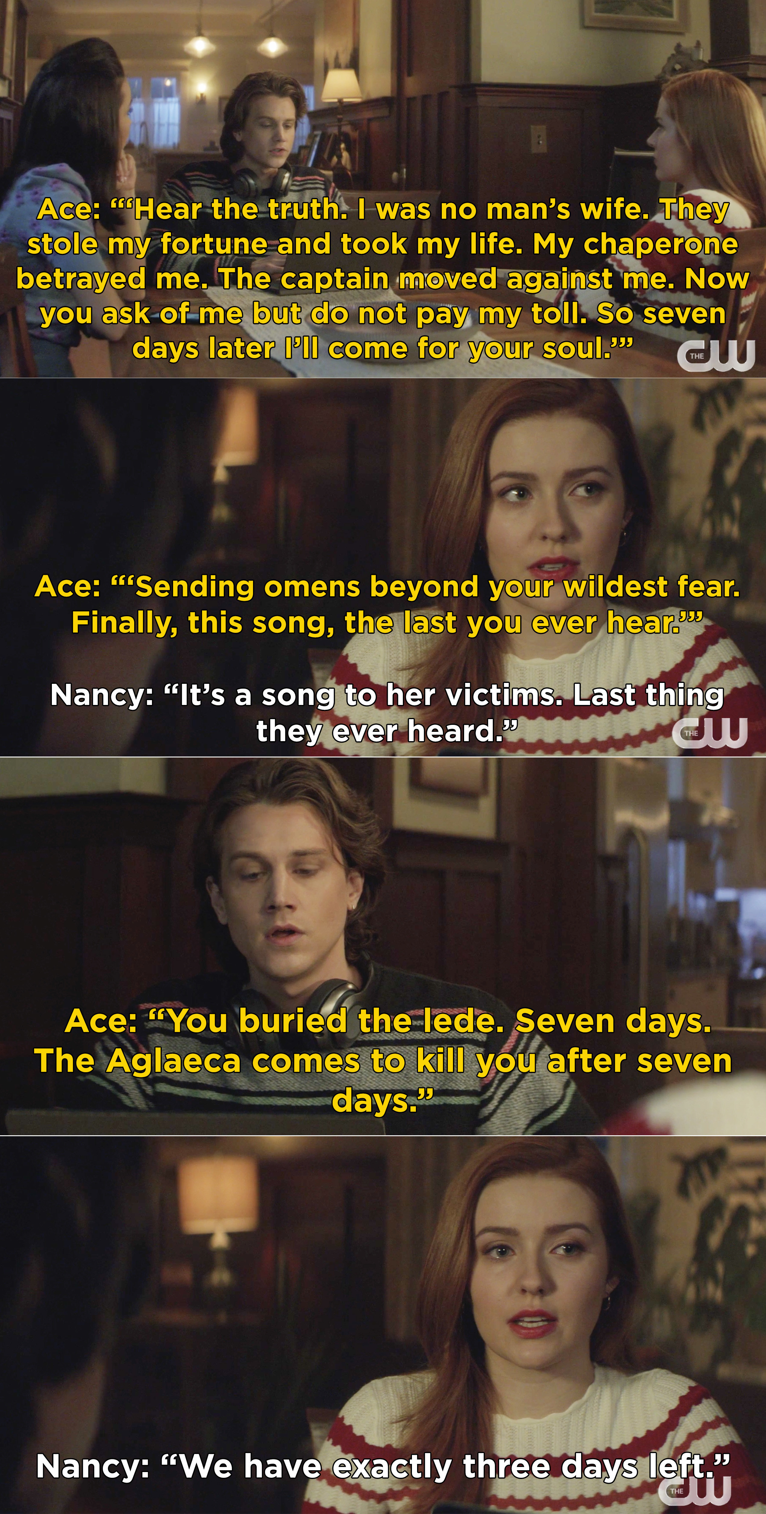 """Ace reading the translation of a song and saying that """"The Aglaeca comes to kill you after seven days"""""""