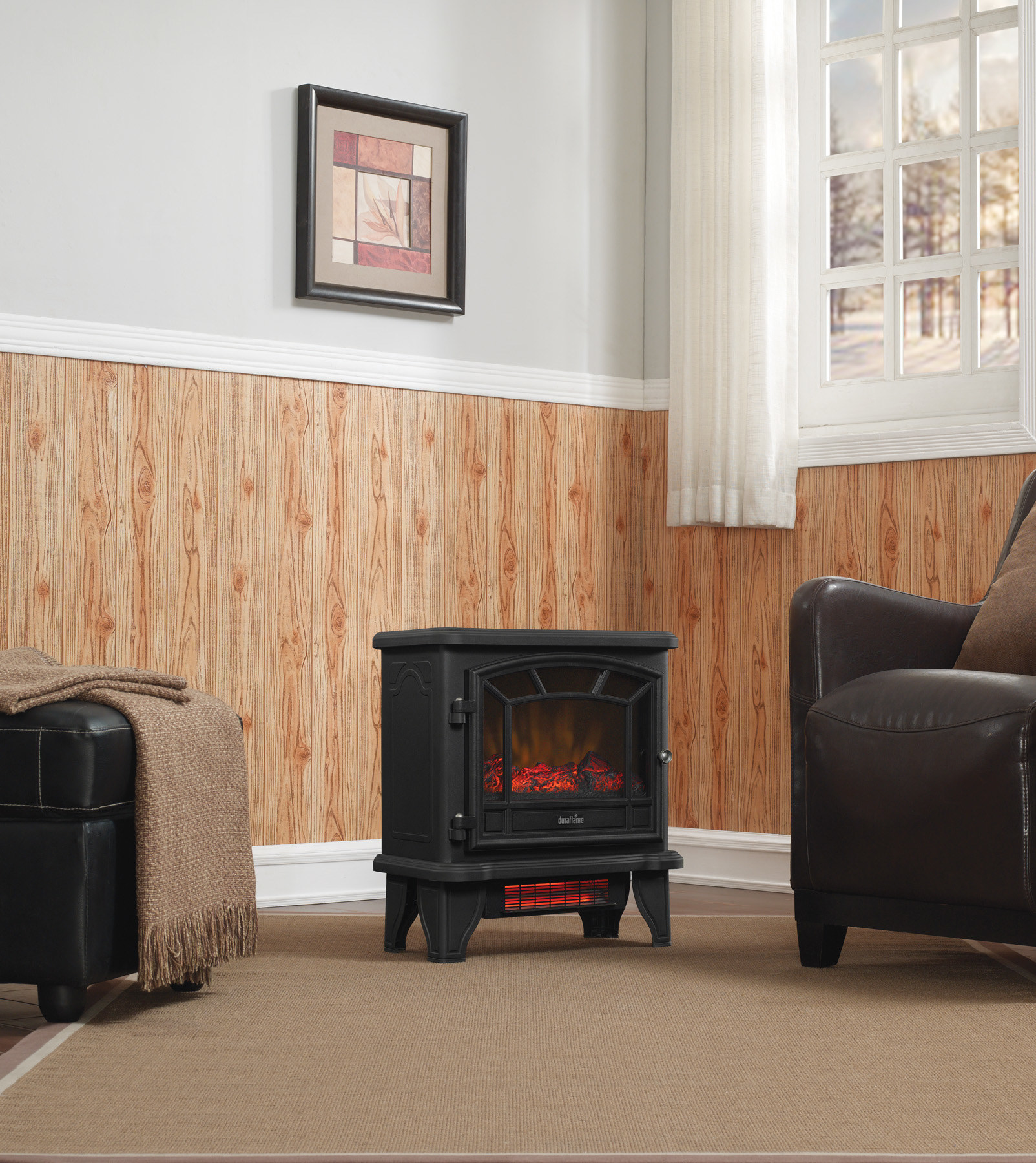 black duraflame space heater in a living room