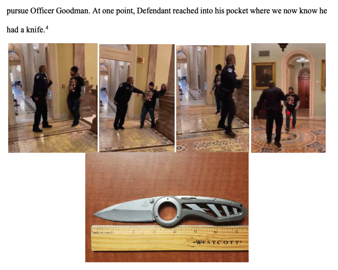 Images in a court document show Jensen approaching Officer Goodman, Goodman pushing him back, and his knife with a three-inch blade next to a ruler