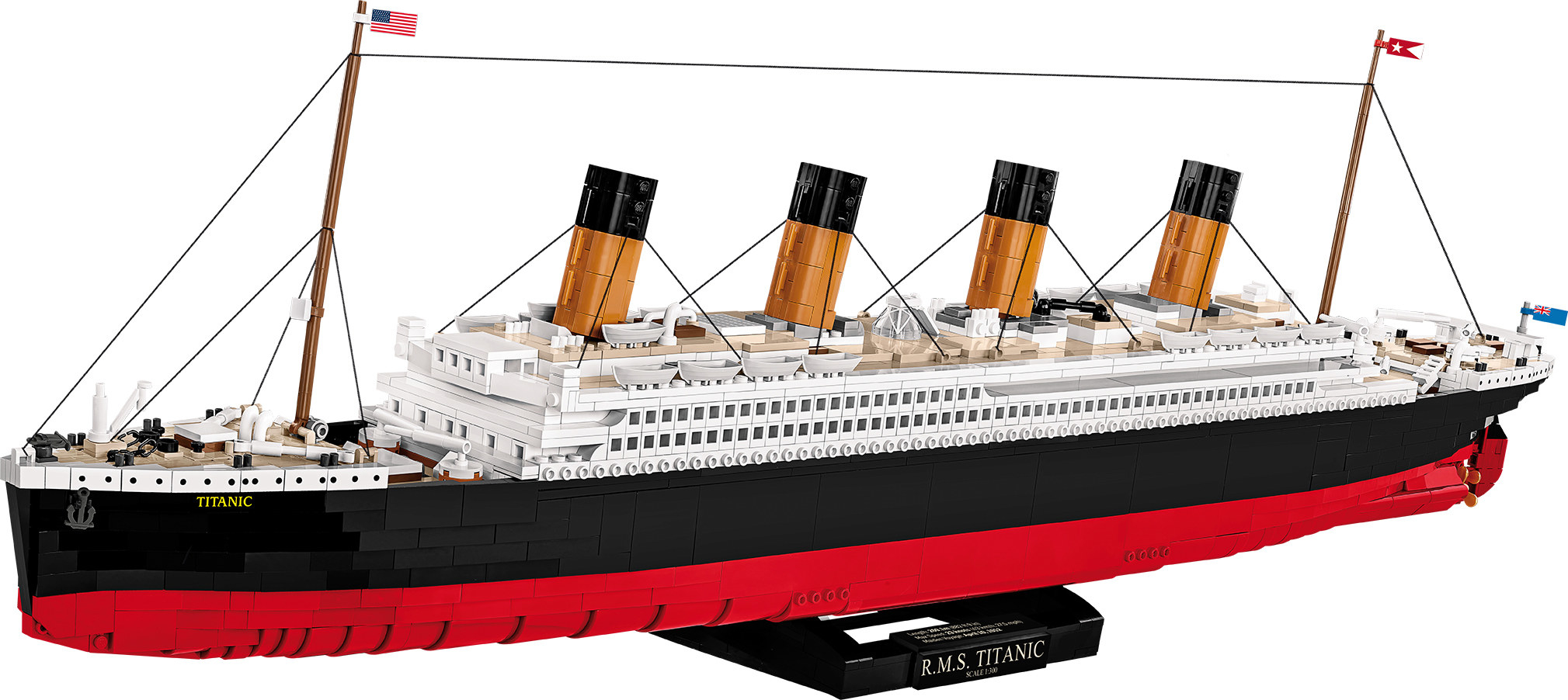 a rms titanic replica building set on a black stand