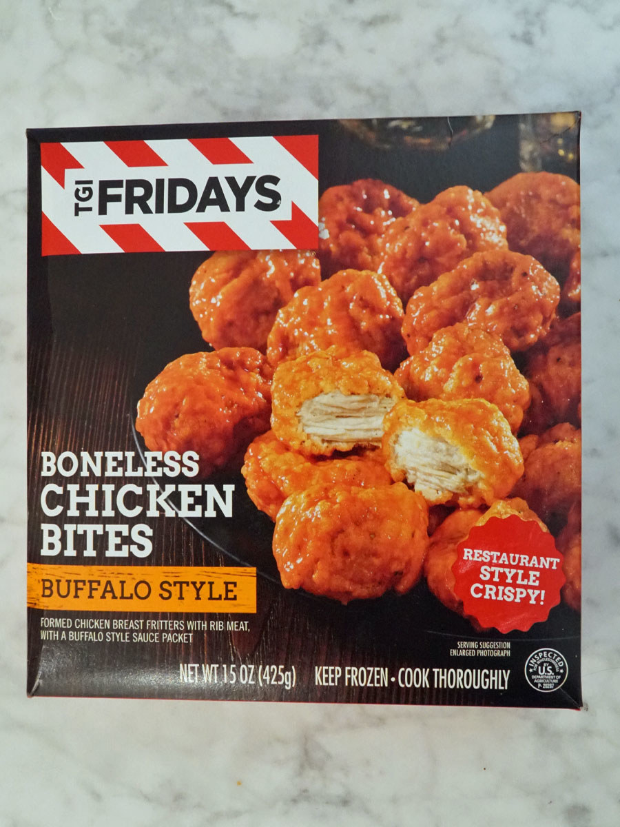 A box of TGIFridays Buffalo Style Boneless Chicken Bites