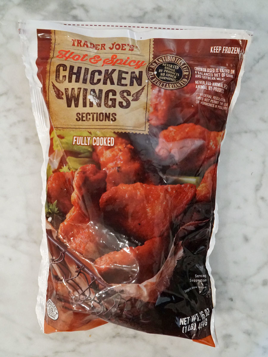 A bag of Trader Joe's Hot & Spicy Chicken Wings