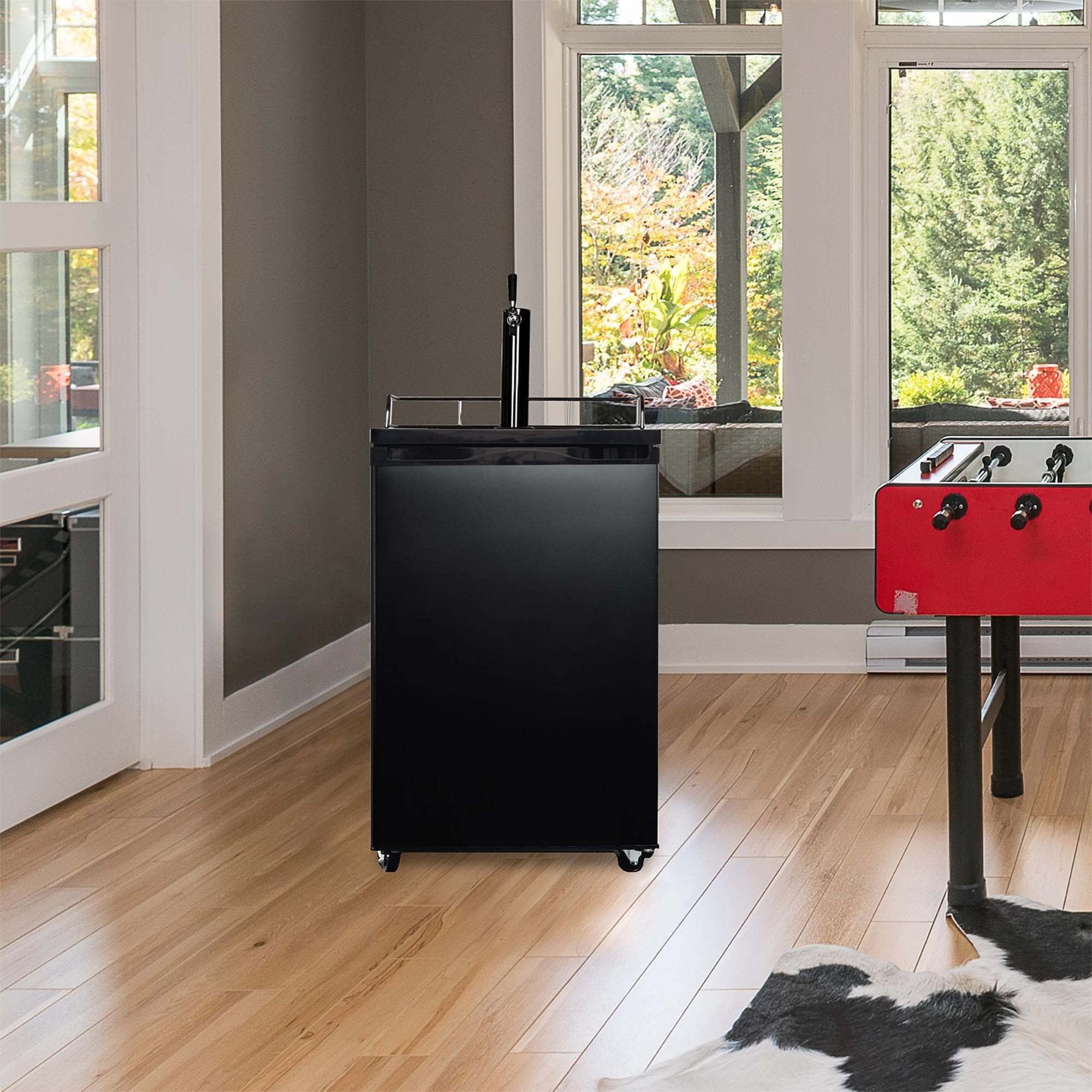 black kegerator in a house's game room