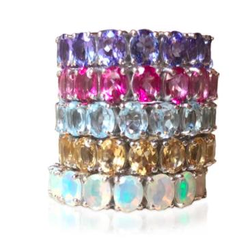 stack of gemstone rings