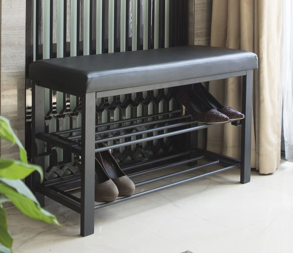 The two-tiered black bench