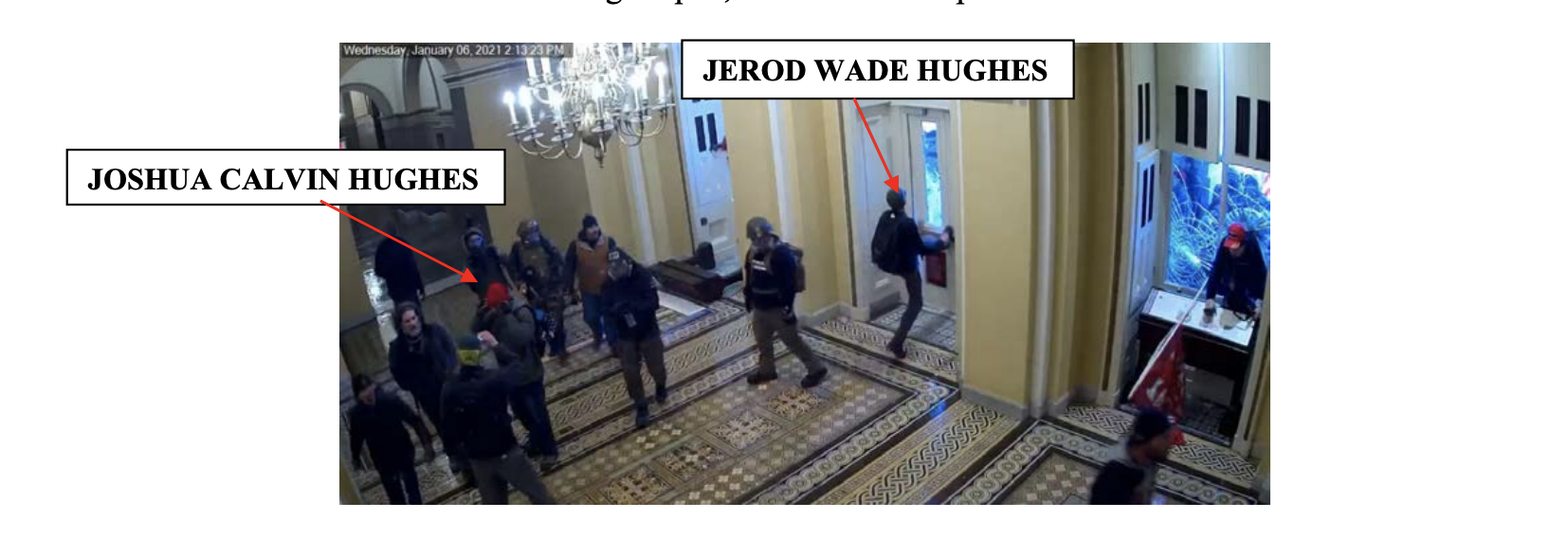A court document shows a still from video footage of Jerod kicking a door at the Capitol