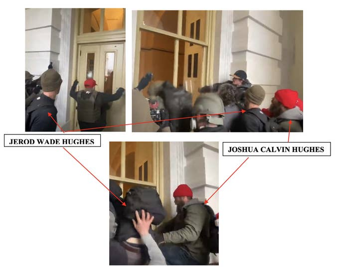 Images in a court document identify and have arrows pointing at Joshua and Jerod Hughes outside the Capitol building