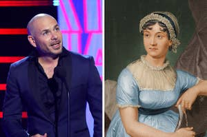 Side-by-side images of Pitbull and Jane Austen