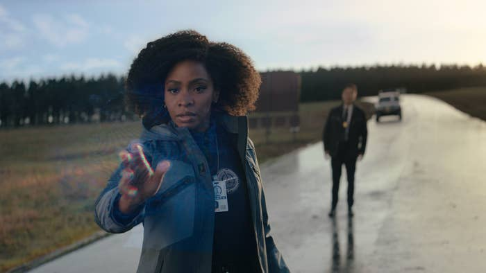 Teyonah Parris as Monica Rambeau and Randall Park as Jimmy Woo investigating Westview, New Jersey