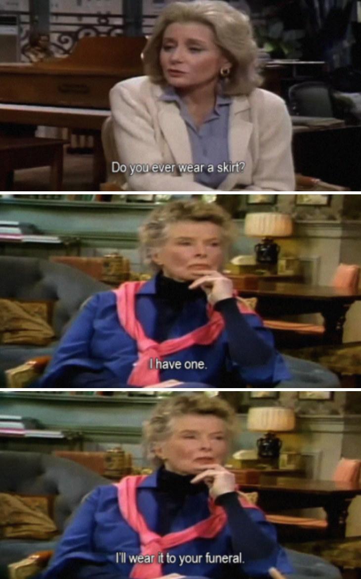 Katharine Hepburn telling Barbara Walters she'll wear a skirt to her funeral